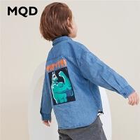 MQD童装男童长袖衬衫2019春秋新款上衣大童卡通衬衣儿童牛仔衬衫