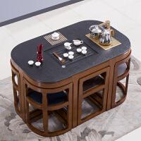 【热卖新品】火烧石功夫茶桌椅组合现代中式小户型实木大理石茶几办公室泡茶台 组装