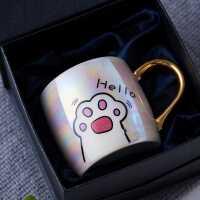 日式杯陶瓷�R克杯女水杯子�Y盒�b��意可�圬�爪情�H咖啡杯���w��勺