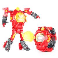 变形电子金刚手表儿童投影手表机器人宝宝奥特曼儿童玩具手表男童 红色款-变形 手表(送积木枪)
