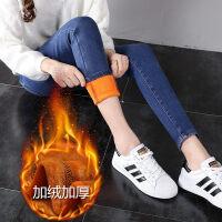 高腰黑色加绒加厚牛仔裤女冬季2018新款韩版显瘦带绒外穿小脚长裤
