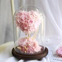 永生花礼盒玻璃罩玫瑰真花保鲜花干花摆件生日七夕情人节礼物