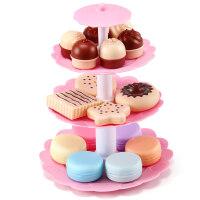 乐切切玩具仿真生日过家家切切看玩具甜点小女孩儿童玩具 粉系甜点塔
