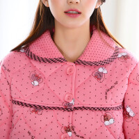 韩版冬季情侣睡衣加厚三层针织夹棉男女青年家居服保暖棉袄套装