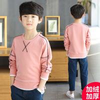 男童长袖T恤秋装新款韩版儿童休闲卫衣中大童加绒打底衫潮衣