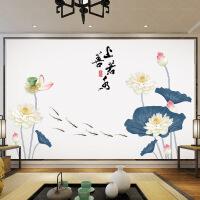 装饰墙贴中国风荷花墙纸温馨壁纸卧室床头贴画房间装饰品自粘墙饰贴纸贴花 中式荷花 超大