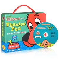 Clifford's Phonics Fun Box Set #1 (附CD) 大红狗自然拼读法系列套装1(含CD) 每套大红狗自然拼读套装包含了12本书和一张CD,每本书都包含了不同的重要知识点