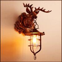 复古oft工业风鹿头壁灯创意客厅酒吧咖啡厅l壁灯过道别墅壁灯