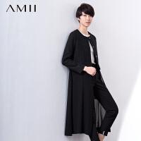 AMII[极简主义]春圆领毛呢拼接雪纺下摆可拆长款外套11680045