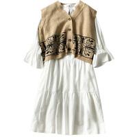网红两件套装冬装新款女装韩版毛衣开衫马甲+连衣裙子时尚潮 白色 连衣裙 均码