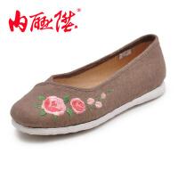 内联升 女鞋 手工千层底加密亚麻尖口绣花布鞋 北京布鞋 8725A