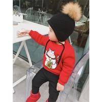 婴童装冬季红色招财猫过年喜庆宝宝装 女童新年装加绒毛衣 图色