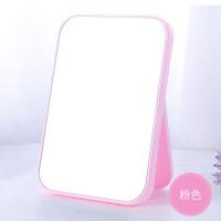 镜子折叠化妆镜台式公主镜桌面便携镜子随身镜学生宿舍家用梳妆镜 粉红 色