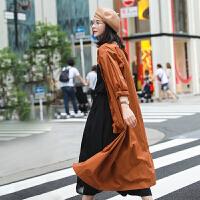 麻霖文艺原创设计棉麻女装2020春夏款高支高密纯棉风衣外套连衣裙