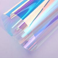 炫彩玻璃贴膜七彩镭射纸幻彩贴纸变色透明彩虹膜渐变彩色橱窗