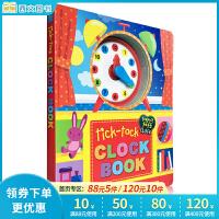 英文原版Tick-Tock Clock Book 时钟书 纸板书 儿童绘本正版图书读物 3-6岁宝宝学习合理安排作息时间概念 亲子游戏互动图书