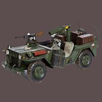 复古二战军车jeep车模型铁艺做旧家居玄关书房酒吧咖啡屋服装店影楼陈列道具摆设品 作战军车38*21*20cm