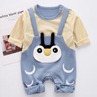 婴儿爬服新生婴儿儿衣服宝宝卡通小企鹅连体衣0-6个月哈衣爬爬服 春秋XM-4 蓝色(18-6 G-2011)