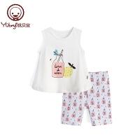 儿童休闲潮衣 宝宝夏装两件套 女童夏季薄款无袖背心套装