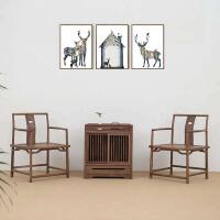 【新品热卖】圈椅三件套新中式禅意实木茶椅子太师椅黑胡桃色官帽椅老榆木圈椅