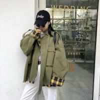 秋冬新款韩版女学生外套bf宽松工装港风中长款长袖休闲风衣外套女 X