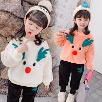 2019秋冬季韩版童装两件套女宝宝加绒加厚儿童卫衣套装