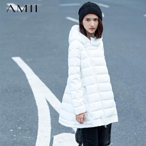 AMII[极简主义]秋冬A型斜拉链连帽抽绳加厚大码羽绒11541324