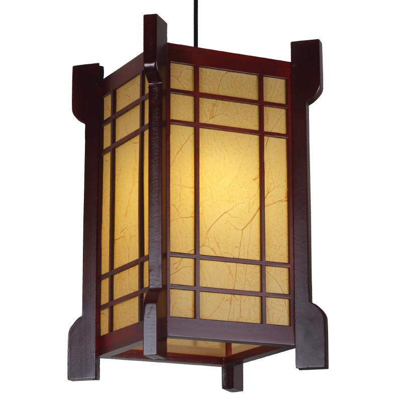 中式仿古羊皮灯笼单头吊灯木艺茶酒楼饭店阳台装饰灯具