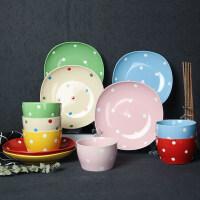 【优选】波点碗碟套装家用餐具碗盘组合饭碗菜盘陶瓷瓷器套装6盘6碗6筷子 18头 波点 混色 18件