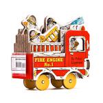 进口英文原版Mini Wheels 小小消防车 Mini Fire Engine 迷你车系列 造型书 卡板书 纸板玩具