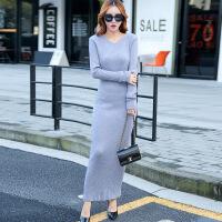 新款女连衣裙韩版修身长袖领打底衫2018秋冬中长款时尚毛衣女装 均码
