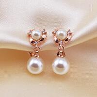 优雅珍珠耳钉无洞耳夹耳环无耳洞可配旗袍结婚礼物