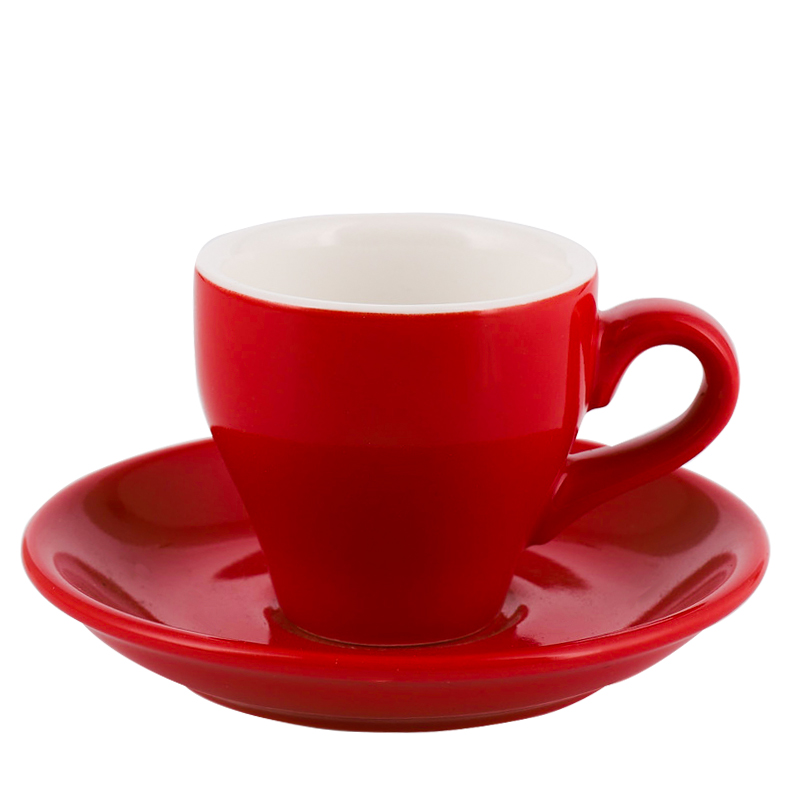 咖啡浓缩杯碟套装 意式特浓小号杯 彩色陶瓷带碟勺 100ml