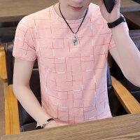 男士冰丝短袖t恤 潮牌圆领潮流休闲时尚夏季修身