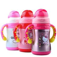 包邮 hello kitty  双手柄儿童保温杯 220ML不锈钢翻盖吸管水杯 宝宝学饮水杯 3602