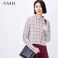 AMII[极简主义]秋冬新女大码短版小高领撞色格纹毛衣11581678