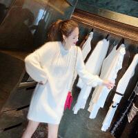 很仙的网红白色毛衣女冬2018新款中长款套头加厚百搭慵懒风 白色