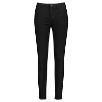 女裤2018冬季新款睫毛九分修身小脚显瘦黑色牛仔加绒毛边铅笔