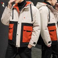啄木鸟 棉衣男装2020年新款外套秋冬季加绒加厚羽绒棉服韩版潮流潮牌