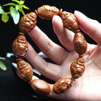 苏工南工名家橄榄核雕刻纯手工八大弥勒佛橄缆橄榄胡手链手串男士