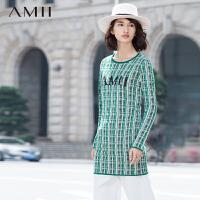 【AMII 超级品牌日】AMII[极简主义]冬民族风花色格纹长袖大码针织连衣裙11581748