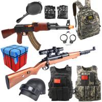 AWM玩具枪儿童套装98K儿童玩具枪绝地同款求生装备衣服背包3级头平底锅头盔男孩子六一儿童节礼物 官方标配