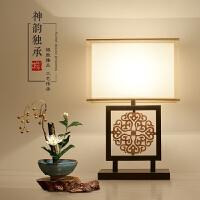新中式台灯现代简约卧室床头灯古典创意酒店客厅书房铁艺小台灯具 按钮开关