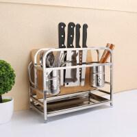 厨房用品置物架多功能不锈钢刀架菜板架砧板架收纳架菜刀座 不锈钢 接水盘+筷笼