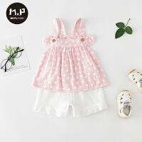 夏季薄款两件套宝宝服婴儿夏装套装可爱萌外出服吊带衣服