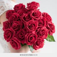 手感保湿仿真玫瑰花束装饰绢花干花花束客厅插花假花仿真花摆件情人节礼物 绽放10枝 大红