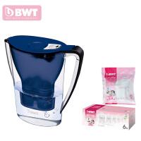 德国BWT倍世厨房家用净水壶直饮便携户外净水壶过滤净水器净水杯2.7升 阻垢款 一壶八滤芯 紫色 蓝色 橙色 白色 绿