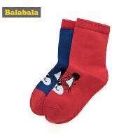 巴拉巴拉儿童袜子棉宝宝中筒袜保暖春季新款男童棉袜小男孩两双装