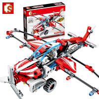 森宝机械密码系列701301回力滑翔机男孩力小颗粒积木飞机玩具