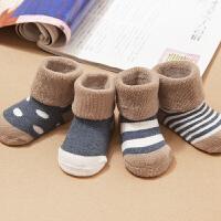 婴儿袜子秋冬棉0-3个月1岁儿童加厚中筒袜男女宝宝新生儿毛圈袜